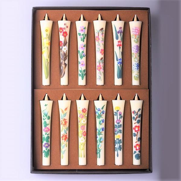 上段左より、水仙、梅、すみれ、桜、あやめ、紫陽花。下段左より、朝顔、ゆり、秋桜、りんどう、菊、椿